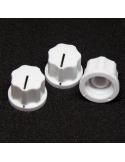 Knob - Fluted/MXR-style, White, Medium (19mm) x3 units