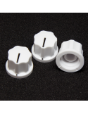 Knob - Fluted/MXR-style, White, Medium (19mm) x3 units