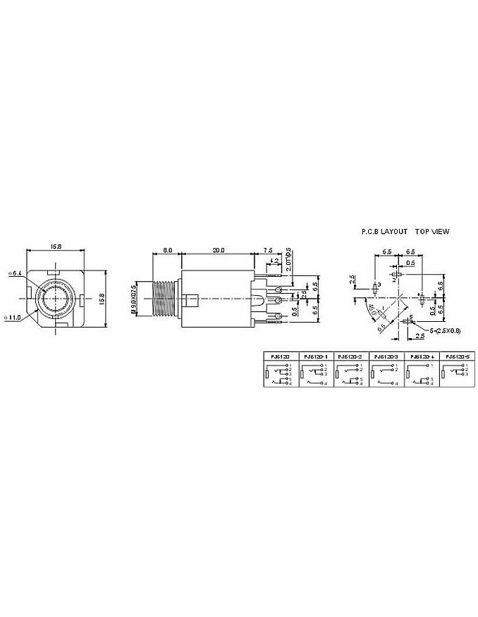 2x Female Vertical Jack 6.3mm